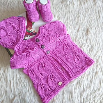 Newborn sweater set, coming home outfit, baby girl vest, bonnet and shoes, baby girl gift set, baby girl booties, baby bonnet