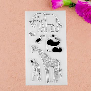 1 sheet DIY Giraffe Elephant Design Transparent Clear Rubber Stamp Seal Paper Craft Scrapbooking Decoration
