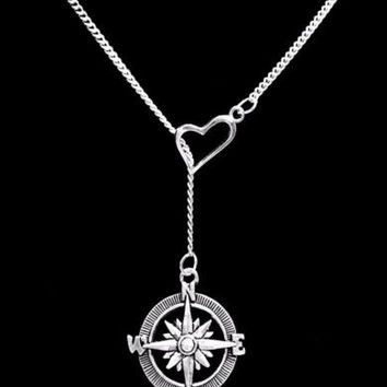 Compass Nautical Beach Long Distance Heart Lariat Gift Friend Sister Necklace