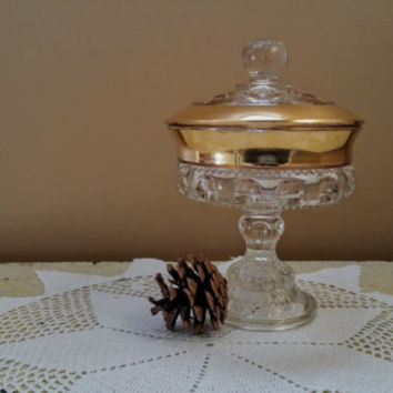 King's Crown Lidded Compote Gold Rim Pedestal Candy Dish Indiana Glass Company
