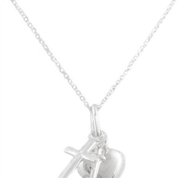 Silver Small Dangle Cross, Heart, Anchor Necklace