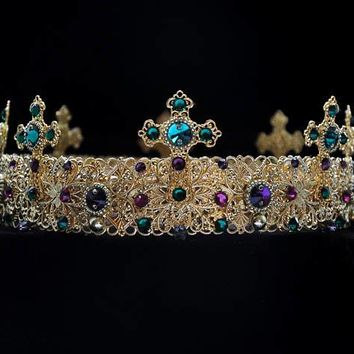 Gold Medieval Crown King Crown Green Purple Stones Cosplay Custom