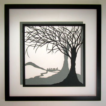 1st ANNIVERSARY TREES Of LIFE Wall Art Décor Silhouette Paper Cut w/ 2 Layers of Black and Gray Original Handmade Design Framed Signed OOaK