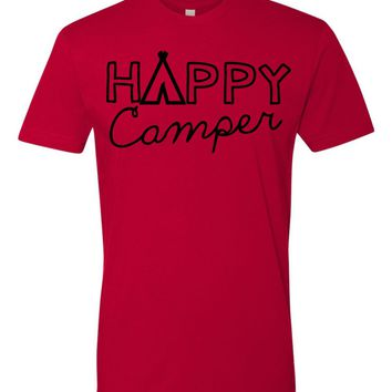 Happy Camper Tshirt - camping tee- group camp - summer camp - family reunion camping shirt - many color options
