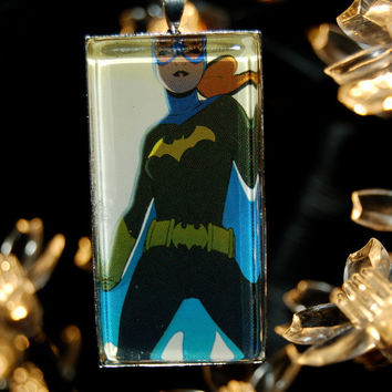 Batgirl Comic Book Jewelry  Pendant with 24 Ball by PopCycled