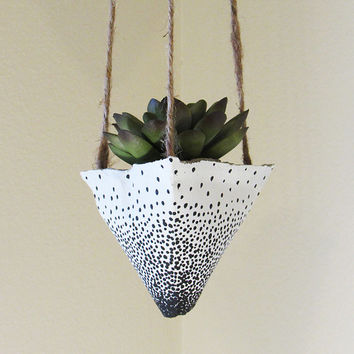 Concrete Planter, Hanging Succulent Pot, Modern Geometric Planter, White Polka Dot Plant Holder, Air Plant Holder, Office Plants, Home Decor