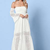 White Off The Shoulder Maxi Dress from VENUS