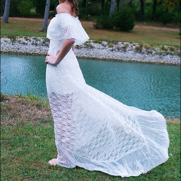 BOHEMIAN Wedding Dress - LACE -70s Style  - Off Shoulder - Off White - White  - Outdoor - Beach - Destination - BOHO Gown