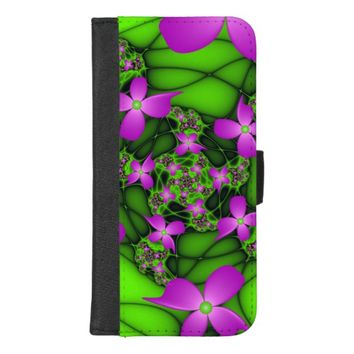 Modern Abstract Neon Pink Green Fractal Flowers iPhone 8/7 Plus Wallet Case