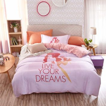Disney Cartoon Princess 3D Printed Bedding Set for Girls Bedroom Decor Cotton Bedspread Quilt Duvet Cover Single Twin Pink Color