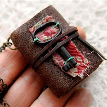 The Keyper - Miniature Wearable Book, XXL, Brown Reclaimed Leather, Tea Stained Pages, Vintage Fabric, Tiny Vintage Key, OOAK