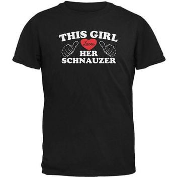 DCCKJY1 Valentines This Girl Loves Her Schnauzer Black Adult T-Shirt