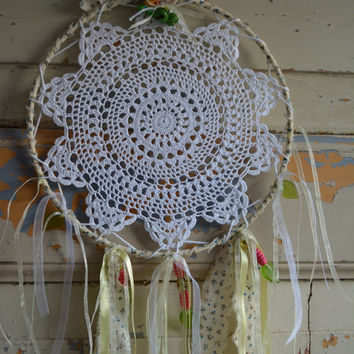 A vintage lace doily dream catcher in Cream,Soft yellow, Fresh green, Hot pink, Light blue and White shades --- A vintage elegant present