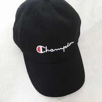"""champion"" Embroidered cap student movement baseball cap hat men and women Black"