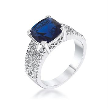 3ct Elegant Silvertone Criss-Cross Sapphire Blue CZ Engagement Ring, Size 5