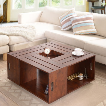 Furniture of America 'The Crate' Square Coffee Table with Open Shelf Storage | Overstock.com Shopping - The Best Deals on Coffee, Sofa & End Tables