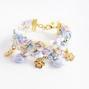 Little gold flowers bracelet,white and lilac,woven and braided bracelet , statement bracelet , arm party ,friendship bracelet ,lilac jewelry