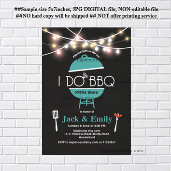 I Do BBQ Invitations, Wedding Shower Invites,  Couples Shower BBQ, Wedding Shower BBQ Chalkboard, Engagement Party, Bridal bbq  - card 1145