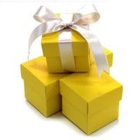 Koyal 2-Piece 100-Pack Square Favor Boxes, Yellow