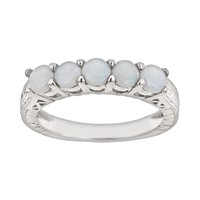Sterling Silver Opal Five-Stone Ring (White)