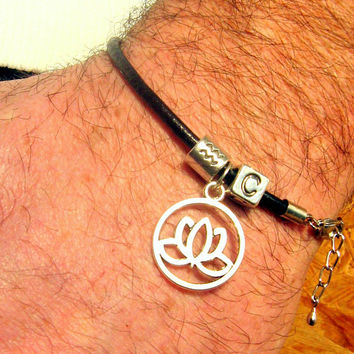 MEN BRACELET black Leather and Silver plated Zodiac and Initial, Custom, LOTUS Talisman of Prosperity, gift for him, gift for couple