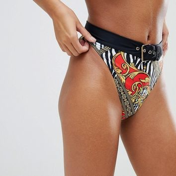 Jaded London Vintage Print Belt Detail High Leg Bikini Bottom at asos.com