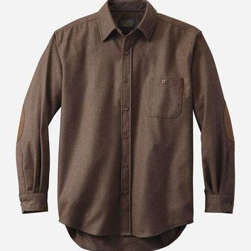 Pendleton - Men's Tall Elbow Patch Solid Trail Brown Mix Shirt
