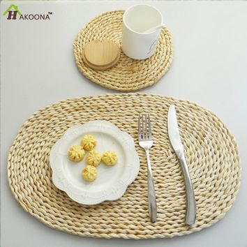 HAKOONA  Placemats  Natural Ecological Straw  Woven Thick Cup Coaster Pads Table Mattress Insulation Mats