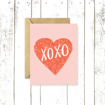 Valentine's Day Card, XOXO, Heart Greeting Card, Hand Lettered