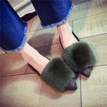 Winter Pointed Toe Flat King Size Stylish Shoes [11192773831]