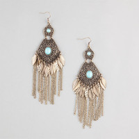 Full Tilt Leaf & Chain Fringe Filigree Earrings Gold One Size For Women 23728062101