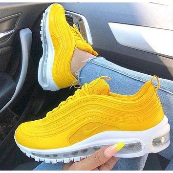 Nike Air Max 97 air cushion yellow Gym shoes 013c2d8948