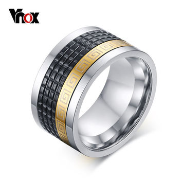 Vnox Rotatable Men Wedding Rings Jewelry 12MM Wide Rings for Men