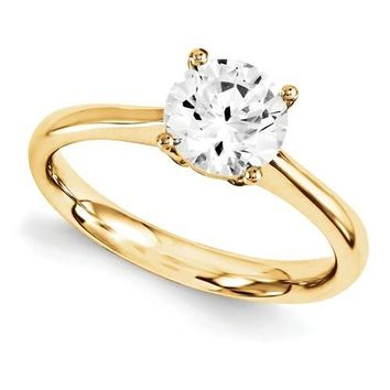 14 kt Yellow Gold Round Moissanite Solitaire Ring 1.50 CTW - Celestial Premier Moissanite Ring