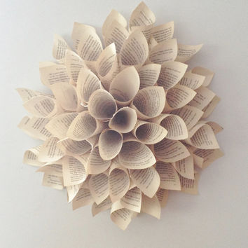 paper flower wreath - Paper Dahlia - Spring Wreath - Wall Hanging - 12 INCH - Paper Wreath - Vintage Paper Wall Decor - Shabby Chic