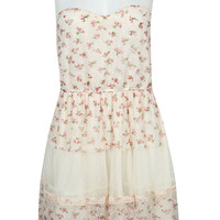 Toni Woven Floral Lace Sweetheart Skater Dress