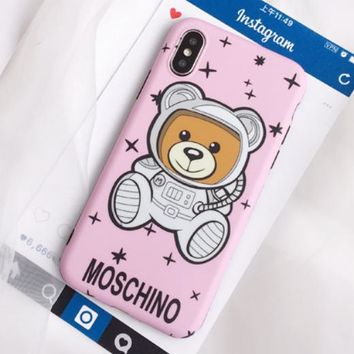 Moschino Fashion New Bear Print Leather Women Men Protective Case Phone Case Pink