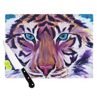 "Brienne Jepkema ""Purple Tiger"" Orange White Cutting Board"