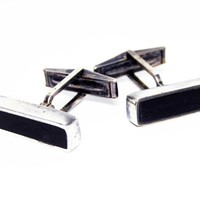 Sterling Silver Modernist Cuff Links - Silver and Black Onyx - Retangle Shaped Mid Century Modern 1950s 1960s Vintage - Onyx Gemstone