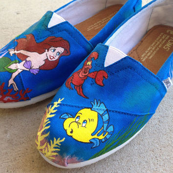 Custom Hand Painted Shoes  Little Mermaid Toms by RyTee on Etsy