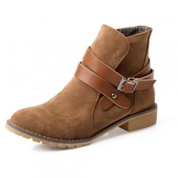 Janie Suede Buckle Wrap Ankle Boots