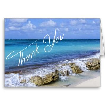 BAHAMAS BEACH SHORE Wedding Thank You Card from Zazzle.com