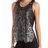 Metallic Crocheted Chiffon Tank Top by Charlotte Russe - Black Combo