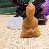 Free Jade Pendant Jade Buddha Statue Display Shadow Box Hand Carved Jade Religious Statue Green