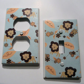Baby Lion Blue Glitter Light Switch and Outlet Covers - set of 2