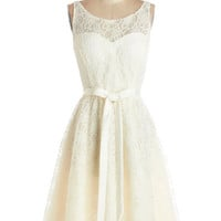 ModCloth Mid-length Sleeveless A-line Simply Divine Dress in Ivory