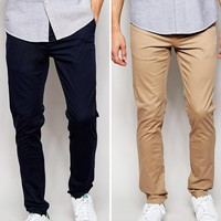 ASOS 2 Pack Skinny Chinos SAVE 15%