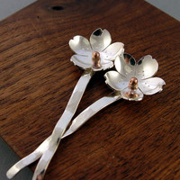 Cherry Blossom Hair Picks Sterling Silver and Bronze by Hapagirls