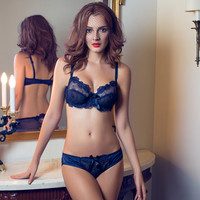 New arrived ultra-thin without foil lace bra sexy gauze transparent female underwear bra set, high quality
