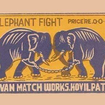 Elephant Fight (Canvas Art)
